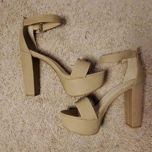 New! Never worn tan platform heels